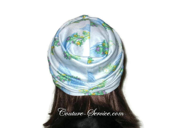 Handmade Blue Twist Turban, Floral, Double Knit - Couture Service  - 3