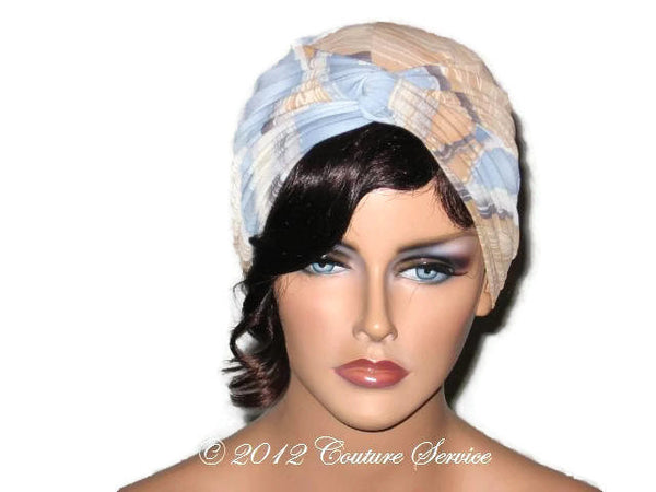Handmade Blue Twist Turban, Abstract, Tan - Couture Service  - 1