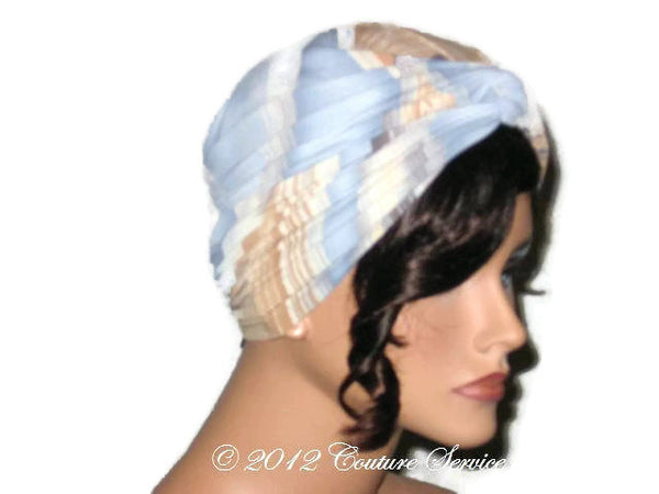 Handmade Blue Twist Turban, Abstract, Tan - Couture Service  - 4