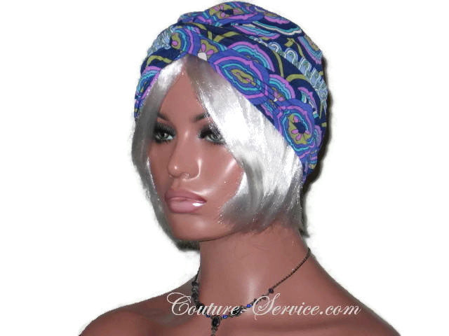 Handmade Blue Twist Turban, Abstract, Medallions - Couture Service  - 4