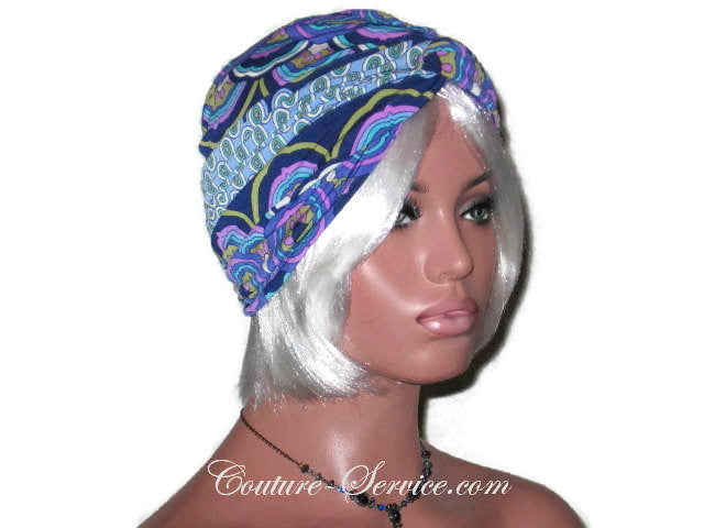 Handmade Blue Twist Turban, Abstract, Medallions - Couture Service  - 2