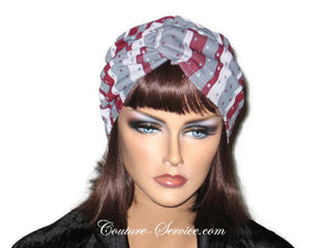 Handmade Grey Twist Turban, Burgundy, Striped - Couture Service  - 1