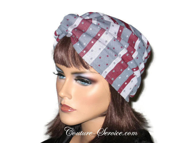 Handmade Grey Twist Turban, Burgundy, Striped - Couture Service  - 2