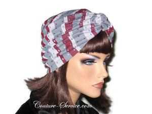 Handmade Grey Twist Turban, Burgundy, Striped - Couture Service  - 4