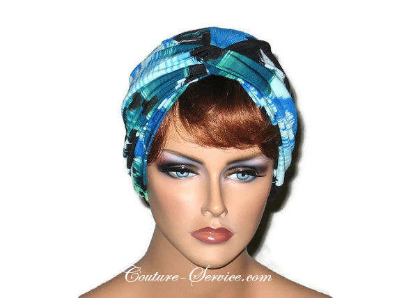 Handmade Blue Twist Turban, Abstract, Teal Green - Couture Service  - 1