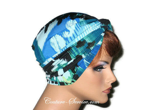 Handmade Blue Twist Turban, Abstract, Teal Green - Couture Service  - 4