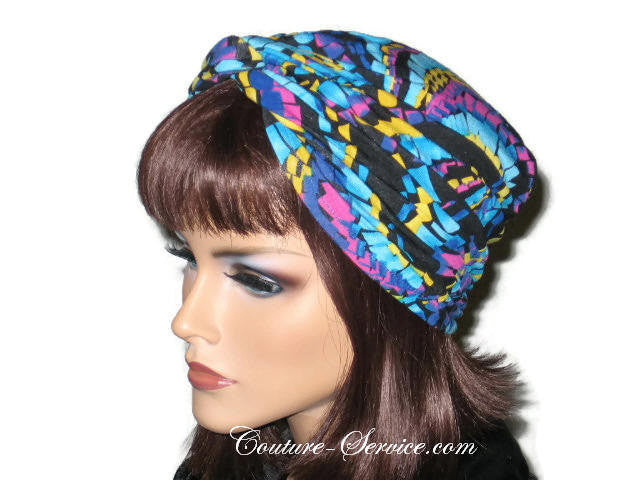 Handmade Blue Twist Turban, Abstract, Turquoise - Couture Service  - 2