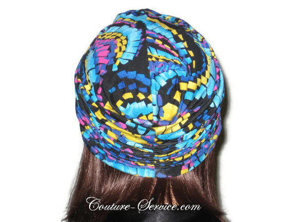 Handmade Blue Twist Turban, Abstract, Turquoise - Couture Service  - 3