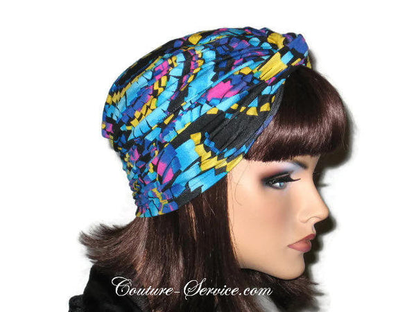 Handmade Blue Twist Turban, Abstract, Turquoise - Couture Service  - 4