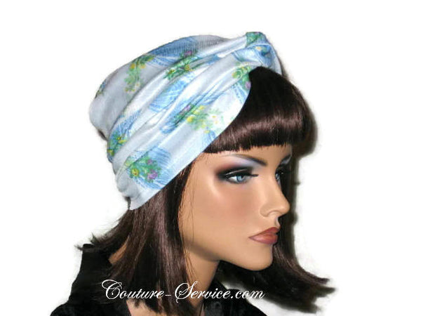 Handmade Blue Twist Turban, Floral, Double Knit - Couture Service  - 2