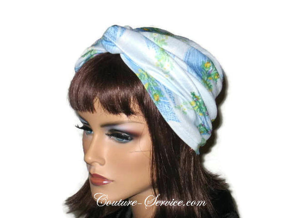 Handmade Blue Twist Turban, Floral, Double Knit - Couture Service  - 4