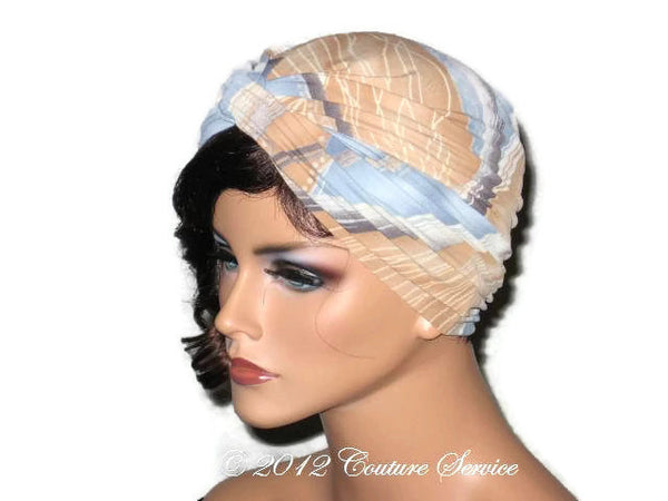 Handmade Blue Twist Turban, Abstract, Tan - Couture Service  - 2
