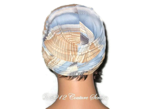 Handmade Blue Twist Turban, Abstract, Tan - Couture Service  - 3