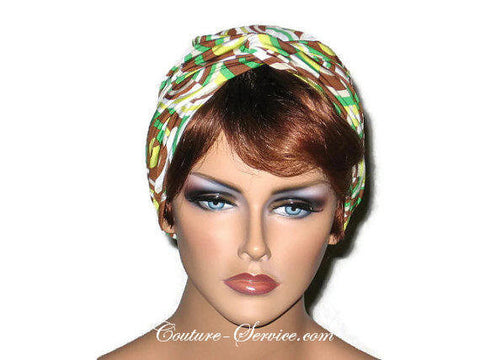 Handmade Brown Twist Turban, Abstract, Green - Couture Service  - 1