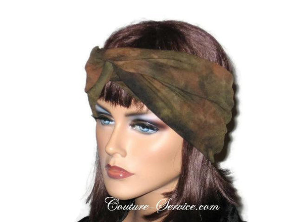 Handmade Green Bandeau Headband Turban, Olive, Tie Dye - Couture Service  - 2