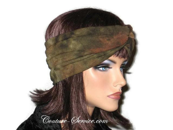 Handmade Green Bandeau Headband Turban, Olive, Tie Dye - Couture Service  - 4