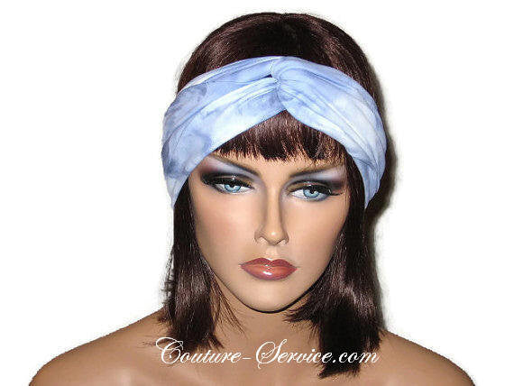 Handmade Blue Bandeau Headband Turban, Light Blue, Tie Dye - Couture Service  - 1