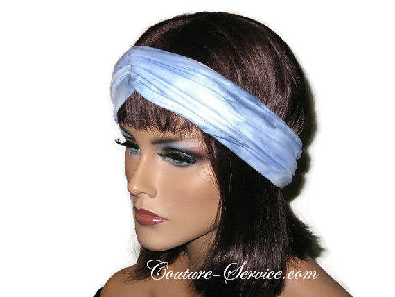 Handmade Blue Bandeau Headband Turban, Light Blue, Tie Dye - Couture Service  - 2