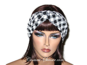 Handmade Black Bandeau Headband Turban, White, Plaid - Couture Service  - 1