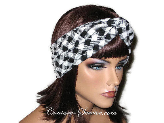 Handmade Black Bandeau Headband Turban, White, Plaid - Couture Service  - 2