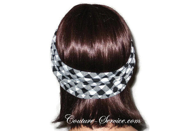 Handmade Black Bandeau Headband Turban, White, Plaid - Couture Service  - 3