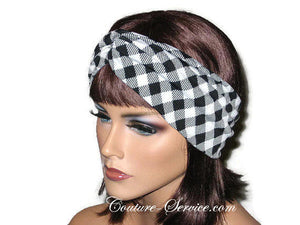 Handmade Black Bandeau Headband Turban, White, Plaid - Couture Service  - 4
