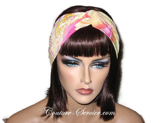 Handmade Pink Bandeau Headband Turban, Abstract, Yellow - Couture Service  - 1