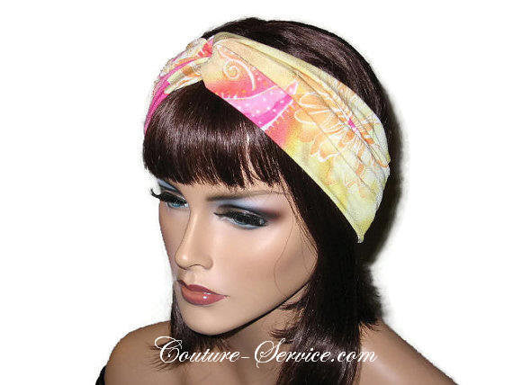 Handmade Pink Bandeau Headband Turban, Abstract, Yellow - Couture Service  - 2