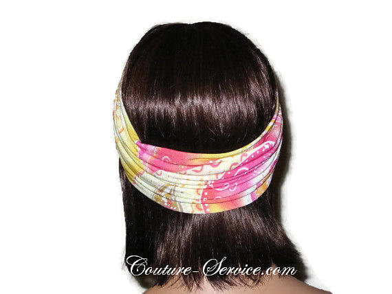 Handmade Pink Bandeau Headband Turban, Abstract, Yellow - Couture Service  - 3