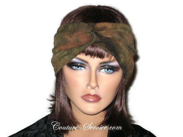 Handmade Green Bandeau Headband Turban, Olive, Tie Dye - Couture Service  - 1