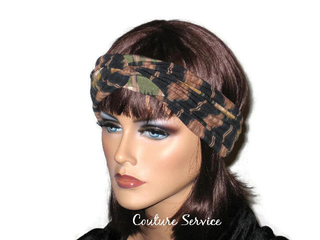 Handmade Green Bandeau Headband Turban, Abstract, Olive - Couture Service  - 2