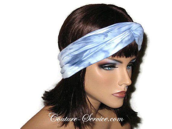 Handmade Blue Bandeau Headband Turban, Light Blue, Tie Dye - Couture Service  - 4
