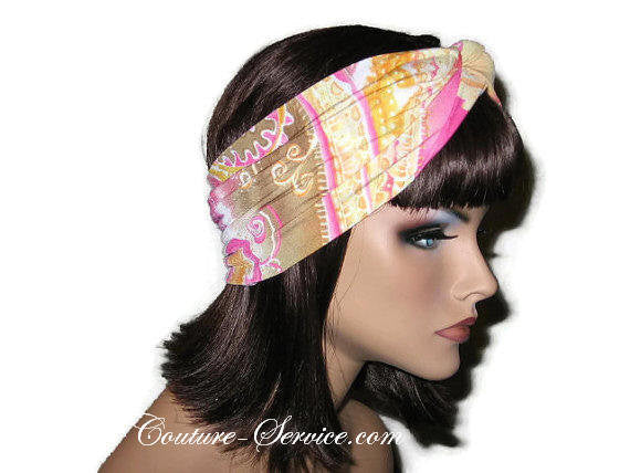Handmade Pink Bandeau Headband Turban, Abstract, Yellow - Couture Service  - 4