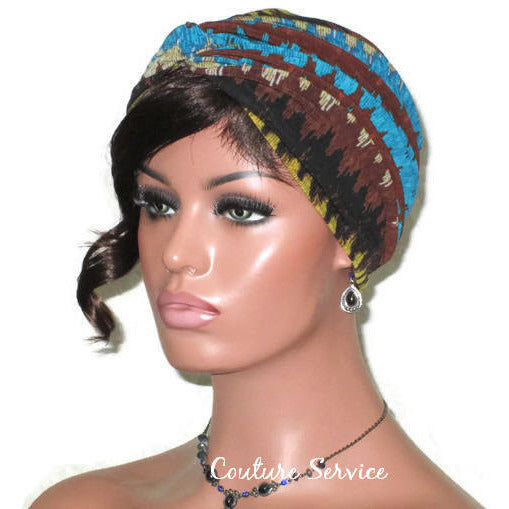 Handmade Brown Twist Turban, Aztec, Blue - Couture Service  - 2