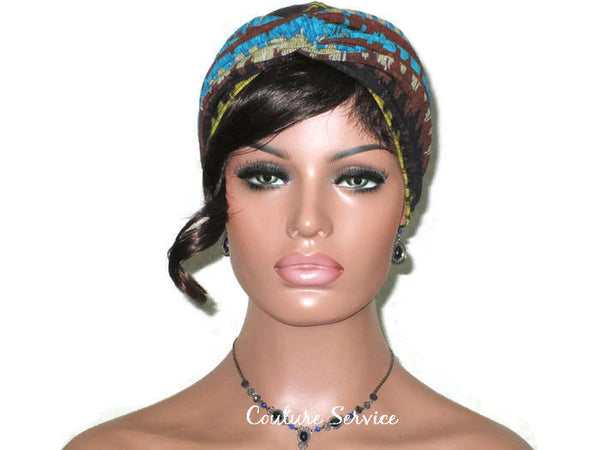 Handmade Brown Twist Turban, Aztec, Blue - Couture Service  - 3