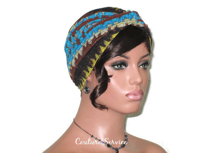 Handmade Brown Twist Turban, Aztec, Blue - Couture Service  - 1