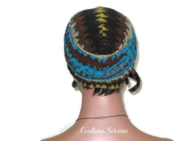 Handmade Brown Twist Turban, Aztec, Blue - Couture Service  - 4