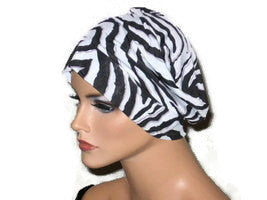 Handmade Black Chemo Turban, White, Draped, Zebra Pattern - Couture Service  - 1