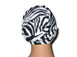 Handmade Black Chemo Turban, White, Draped, Zebra Pattern - Couture Service  - 4