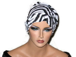 Handmade Black Chemo Turban, White, Draped, Zebra Pattern - Couture Service  - 2