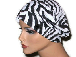Handmade Black Chemo Turban, White, Draped, Zebra Pattern - Couture Service  - 5