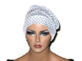 Handmade White Chemo Turban, Black, Mini Polka Dots - Couture Service  - 2