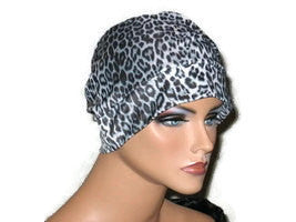 Handmade Black Draped Chemo Turban, White, Panther Print - Couture Service  - 3