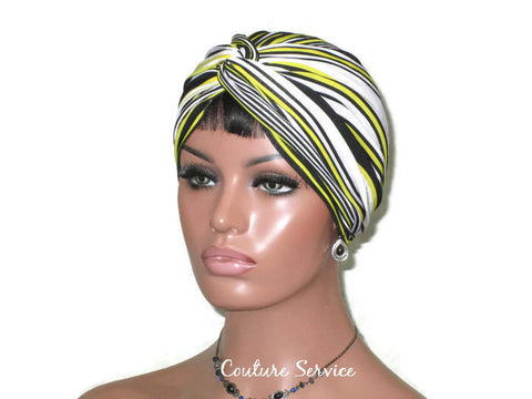 Handmade Yellow Twist Turban, Black Striped - Couture Service  - 1