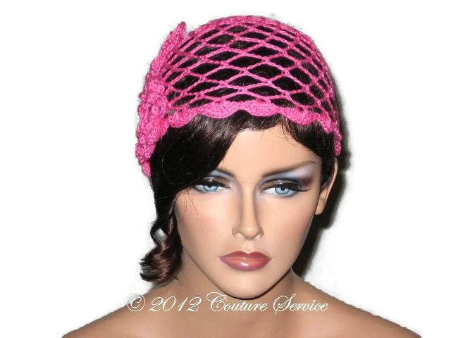 Handmade Scalloped Edge Lace Demi Cloche, Pink - Couture Service  - 1