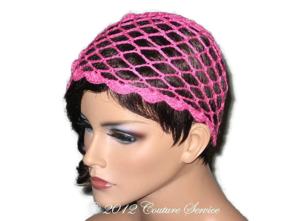 Handmade Scalloped Edge Lace Demi Cloche, Pink - Couture Service  - 4