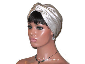 Handmade Leather Turban, Champagne, Metallic - Couture Service  - 4