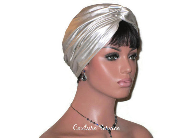 Handmade Leather Turban, Champagne, Metallic - Couture Service  - 2