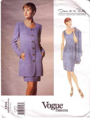 Vintage Vogue 1404, American Designer, Oscar De La Renta, Dress and Jacket, Size 14, 16, 18 - Couture Service  - 1