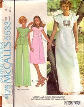 Vintage McCalls 5533, Misses Maxi Dress, Ruffled Sleeve Top, Size 8 - Couture Service  - 1